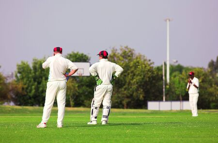 cricket field: Cricket players standing on the cricket pitch waiting for the game to resume. Wicketkeeper talking to fielder, all players wearing white