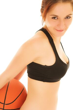Sexy Girl with Basketball and Black top Stock Photo - 780303