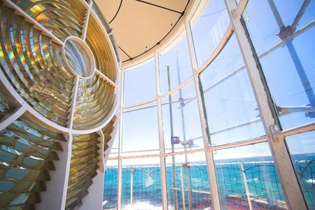 diffraction: Inside the Slangkop Lighthouse at Kommetjie, Western Cape. The Tallest Lighthouse in South Africa Stock Photo