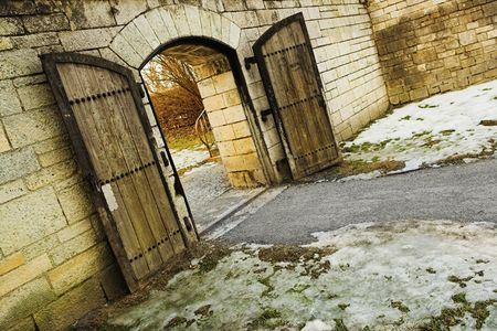 Old Cirty gate leading to Danube River photo
