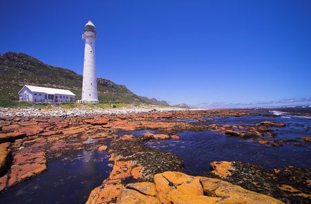 whitewash: The Slangkop Lighthouse at Kommetjie, Western Cape. The Tallest Lighthouse in South Africa