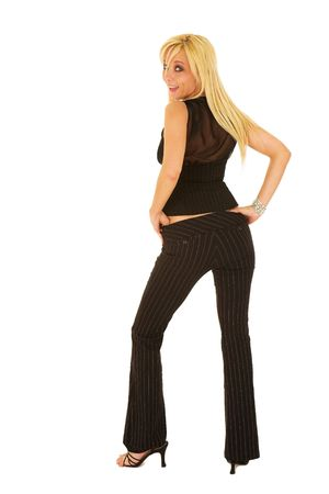 Blond business woman in a black business suit photo
