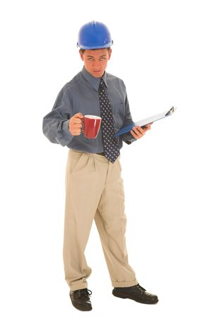 questioned: Man standing with coffee and clipboard.