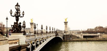 Pont Alexandre III - Bridge in Paris, France.  Movement on cars driving � Gloomy winters day.  High Contrast, Copy space.