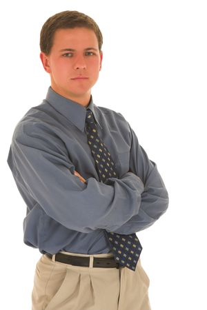 folding arms: Business man with arms folded. Stock Photo