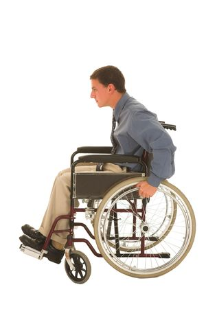 Man sitting in a wheelchair. photo