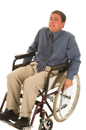 Man sitting in wheelchair. photo