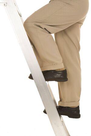 Man climbing the corporate ladder photo