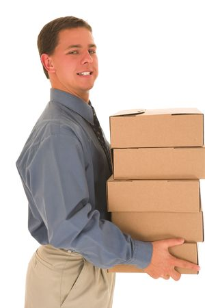 Man carrying boxes. photo