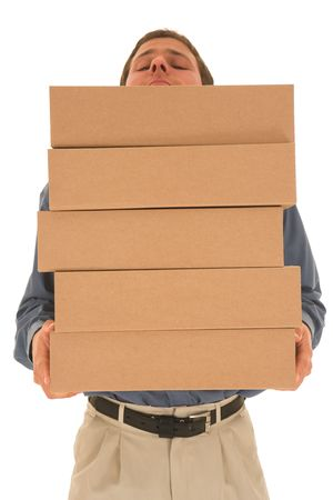 Man carrying boxes. Stock Photo - 841850