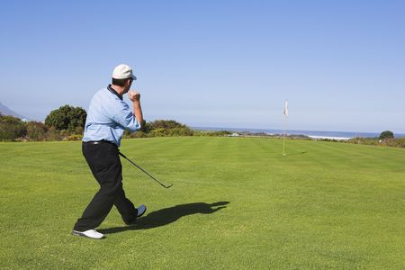 Man playing golf. photo