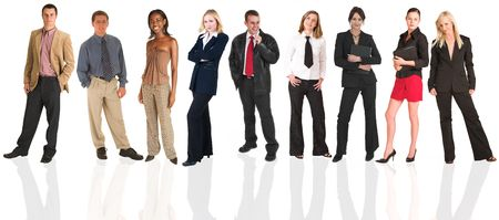 A group of business people all isolated on white for use on backgrounds for business groups. The whole group consists of multiracial young adults. The foreground is in sharp focus with the people in the background slightly blurred.