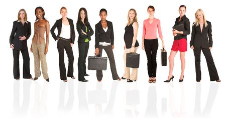 A group of young modern businesswoman of different ethnicity and backgrounds, isolated on white. For use as a business background.