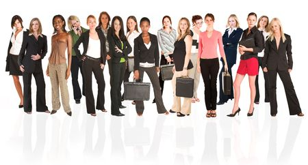 A group of young modern businesswoman of different ethnicity and backgrounds, isolated on white. For use as a business background. The front row of the business group is sharp, while the back row is slightly blurred. Stock Photo