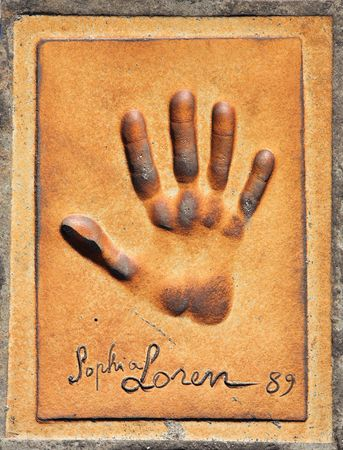 honored: Handprint of Sophia Loren in front of the Cannes Main Film Festival Theatre, France Stock Photo