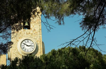 clock tower: Clock tower on the La Tour Du Suquet in Cannes