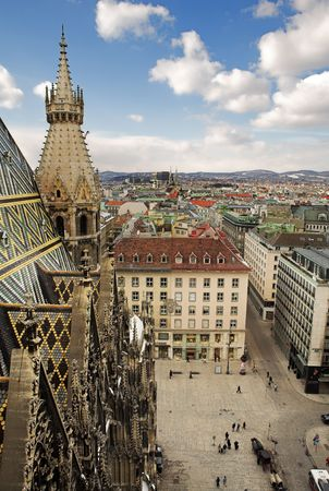 The Vienna Skyline and St Stephens DOM Tower Stock Photo