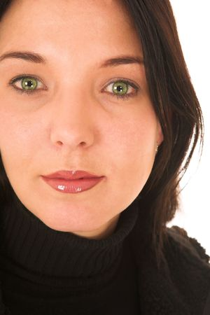 dark haired woman: Dark haired woman with green eyes