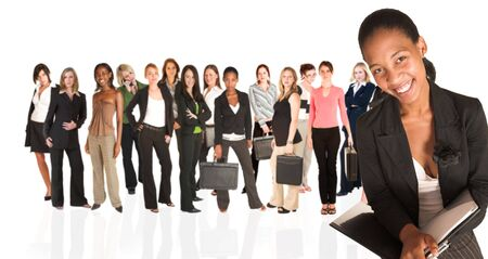 A group of young modern businesswoman of different ethnicity and backgrounds, isolated on white. The background is blurred