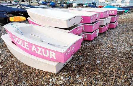 pink cruiser: Boats piled on top of each other in Antibes, France. Stock Photo