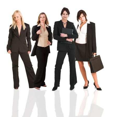 A group of young modern businesswoman of different backgrounds, on a white background. For use as a business background.  photo