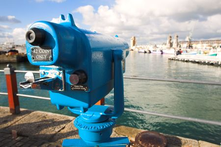 finder: Coin operated view finder or telescope at the Cape Town Waterfront and port area