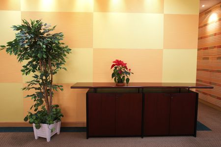 blocky: Small plant against an orange block pattern in an office lobby on a brown cabinet top with a evergreen tree on the side