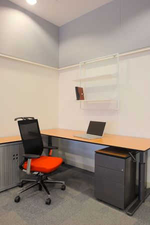 Empty Office With New Modern Office Furniture, Including Desks, Cupboards,  Filing Cabinets And
