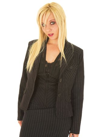 pencil skirt: Sexy young adult Caucasian businesswoman in black pinstripe pencil skirt and suit jacket on a white background. Not Isolated