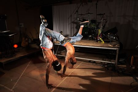 Two freestyle hip-hop dancers in a dancing training session. Stock Photo - 3029489