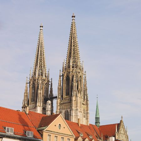 steeples: Cathedral steeples of The Dom Cathedral in Regensburg, Germany during a sunny day in winter
