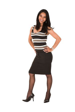 Pink lips: Beautiful young adult Indian businesswoman with dark skin and dark straight long hair, brown eyes and pink lips, wearing a black pencil skirt and striped top with stockings and black stilettos Stock Photo