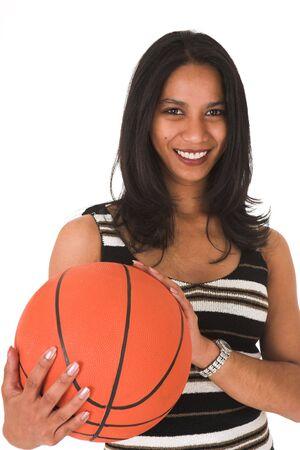 dark skin: Belli giovani adulti indiani d'affari con la pelle scura e dark dritto capelli lunghi, gli occhi marrone e rosa labbra, che indossa un gonnellino matita nera e strisce top con le calze e nero stilettos