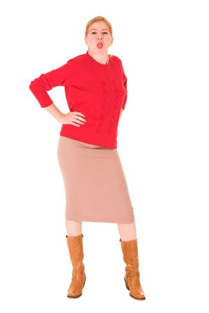 pencil skirt: Sexy young adult Caucasian businesswoman in Red top and pencil skirt on a white background, sticking her tongue out. NOT ISOLATED Stock Photo