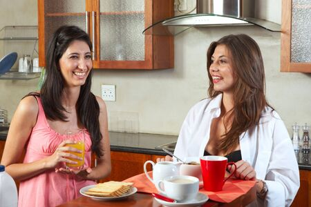 Sexy young adult brunette roommates in lingerie eating breakfast and drinking coffee in their kitchen before work Stock Photo - 3171464
