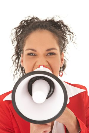 Young adult Caucasian businesswoman wearing a red suit with long brown hair, speaking through a megaphone. NOT ISOLATED