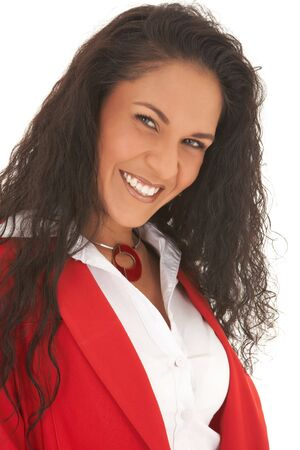Young adult Caucasian businesswoman wearing a red suit with long brown hair. NOT ISOLATED Stock Photo - 3582023