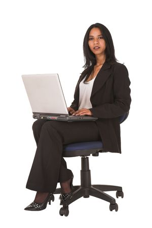 African businesswoman in black office outfit on a white , NOT ISOLATED photo