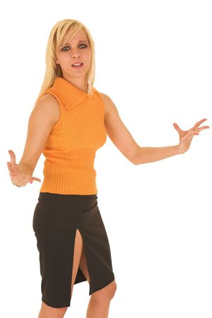Blonde young adult businesswoman wearing office wear on a white background photo