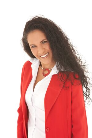 Young adult Caucasian businesswoman wearing a red suit with long brown hair. NOT ISOLATED Stock Photo - 3921924