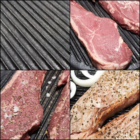 A combination image of the steps to prepare the perfect steak dinner photo