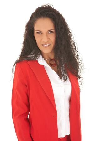 Young adult Caucasian businesswoman wearing a red suit with long brown hair. NOT ISOLATED Stock Photo - 4187956