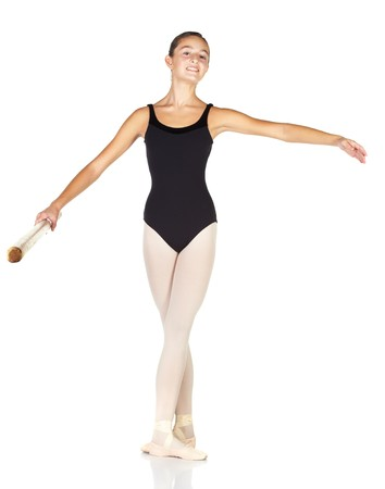 ballet bar: Young caucasian ballerina girl on white background and reflective white floor showing various ballet steps and positions. Starting Position. Not Isolated.