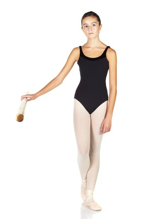 ballet bar: Young caucasian ballerina girl on white background and reflective white floor showing various ballet steps and positions. Not Isolated.