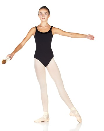 ballet bar: Young caucasian ballerina girl on white background and reflective white floor showing various ballet steps and positions. Pointe in Second Position. Not Isolated.