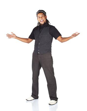 Bel homme d'affaires africains en costume noir sur fond blanc. Non isolé Banque d'images - 4561103