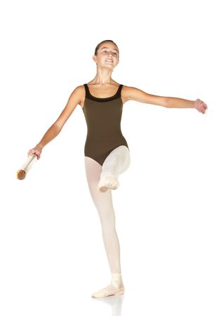 develope: Young female ballet dancer showing various classic positions on a white background, at barre - develope. NOT ISOLATED