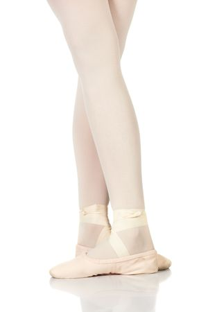 ballet shoes: Young female ballet dancer showing various classic ballet feet positions on a white background - Fifth position. NOT ISOLATED