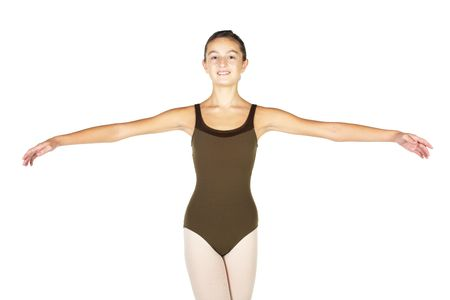Young female ballet dancer showing various classic hand and arm positions on a white background - 2nd position arm positions. NOT ISOLATED