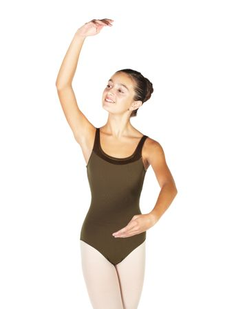position: Young female ballet dancer showing various classic hand and arm positions on a white background - 4th position crossed arm positions. NOT ISOLATED